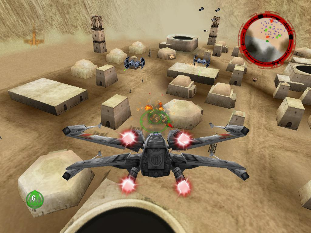 "Ignoring mission guidelines and stunt flying through Mos Eisley (or destroying as many buildings as you could before the ""fail"" screen appeared) was part of what made Rogue Squadron so much fun."