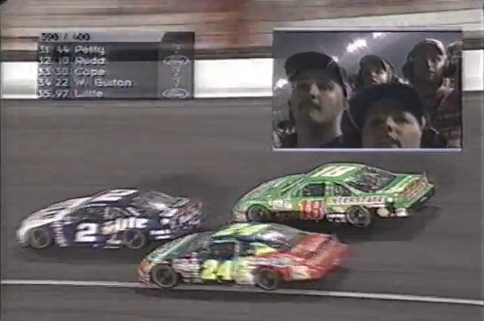 Jeff Gordon's 24 makes a great pass for the lead at the 1998 Coke 600. The first racing video I ever downloaded!