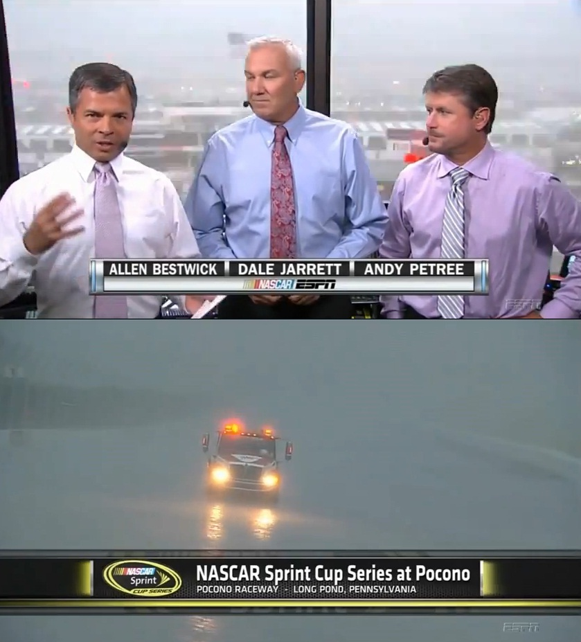 Top - A lightning strike happens behind the main grandstand at Pocono raceway. Bottom - I'm under the grandstand with my mom, somewhere.  One fan was killed by the strike, which happened quite close to us!