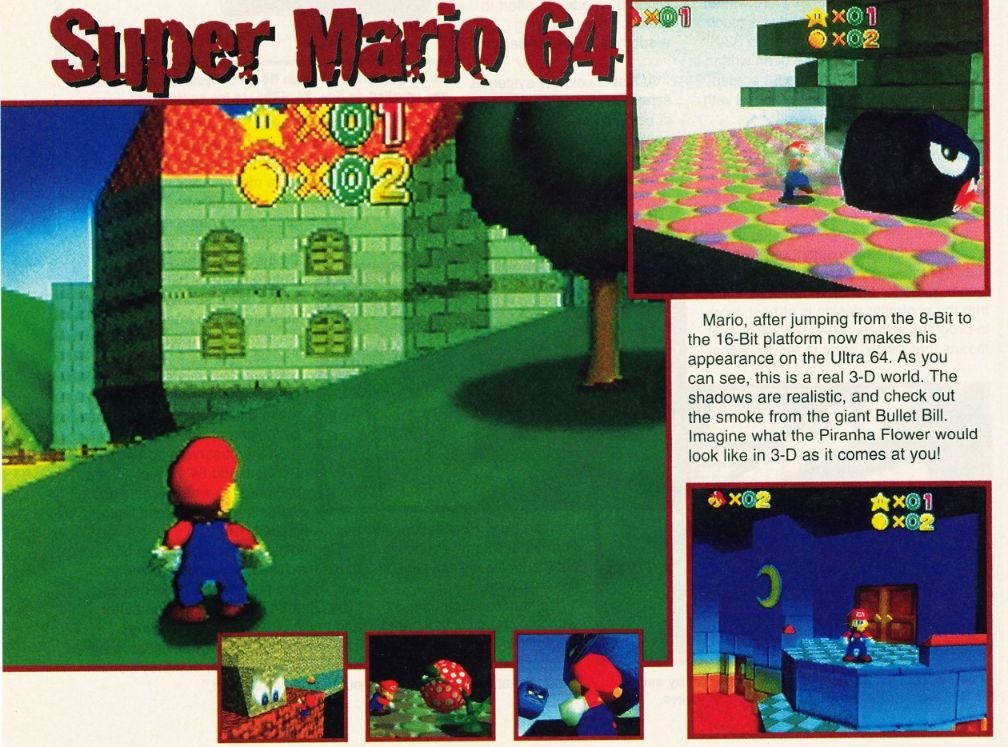 Beta screens from development of Super Mario 64... I was quite amazed with these, but the final product ended up being even better!