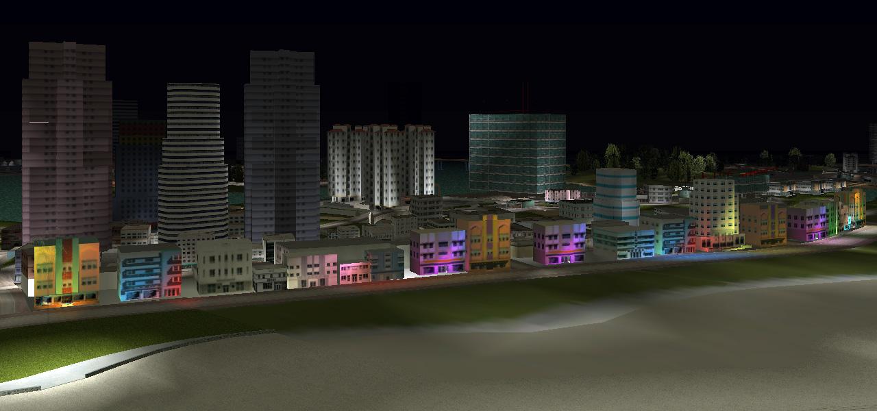 80's colours along Washington Beach, where the game begins.