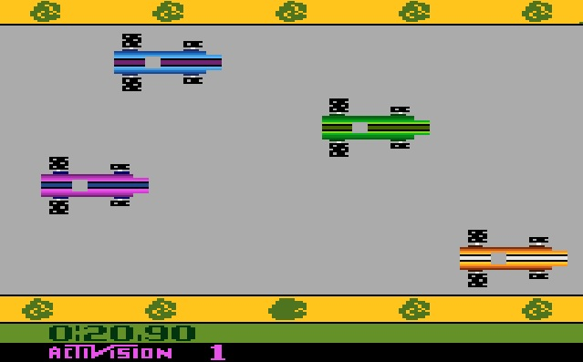 Grand Prix (1982 - Atari) was actually quite impressive from a visual perspective.