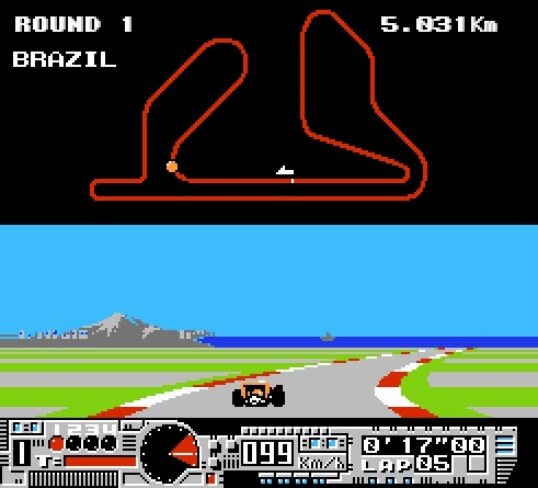 Both Michael Andretti's World GP (1990 - NES; shown above) and Al Unser Jr.'s Turbo Racing (1990 - NES) both feature drivers from the American CART (Indy) circuit, but use tracks from the Formula One World Championship instead.