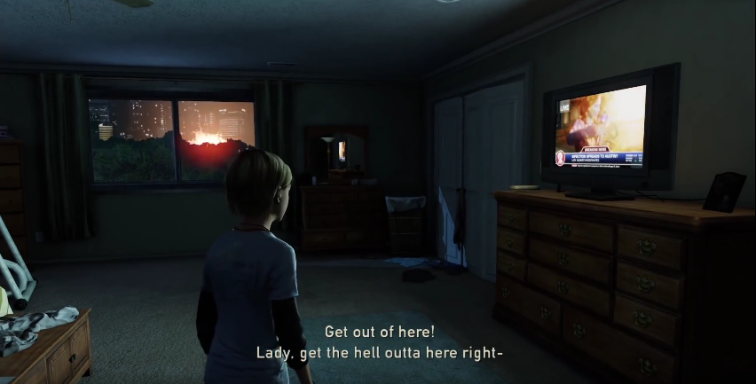 The TV signal cuts out after an explosion, which you can see happening from the bedroom window… creepy.